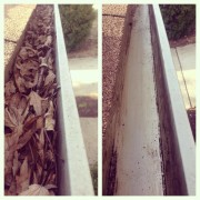 before & after gutter cleaning - jacksonville